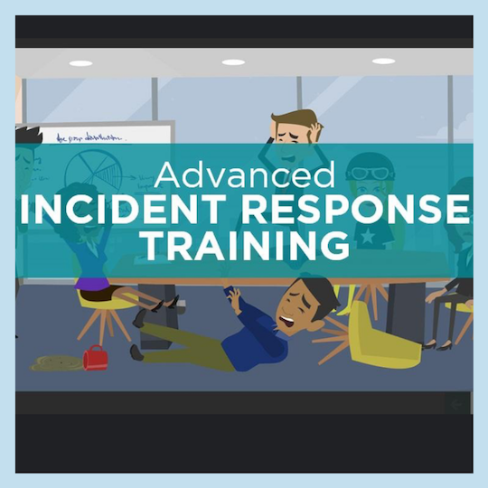 "Cartoon people crying and holding their heads in panic. ""Advanced Incident Response Training""had"
